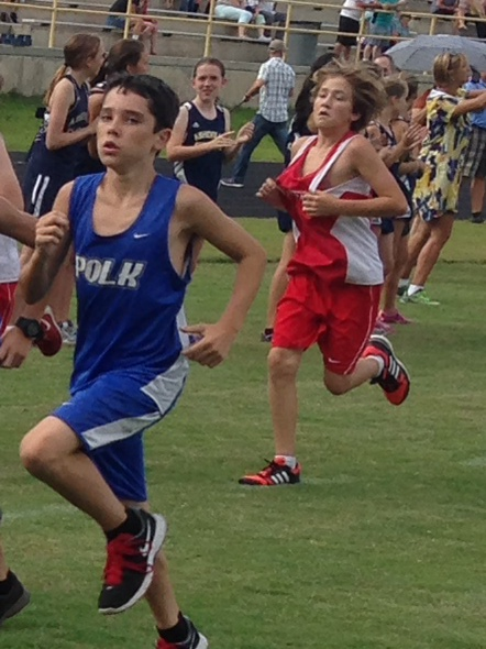 Polk County Middle's Zach Lambert placed 13th in Tuesday's race at Apple Valley (photo courtesy Cathy Elliott).