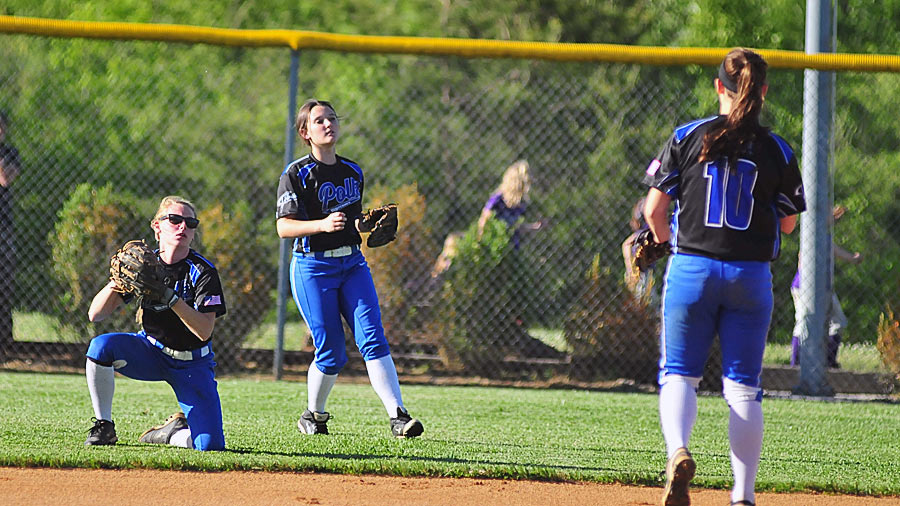 Ansley Lynch looks to the infield after making a slidiing catch during Friday's game.