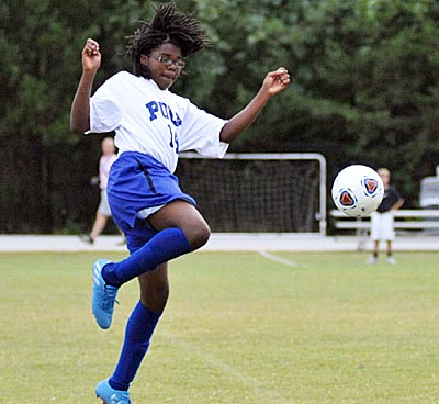 Omar Carson scored Polk County Middle's lone goal on Monday.